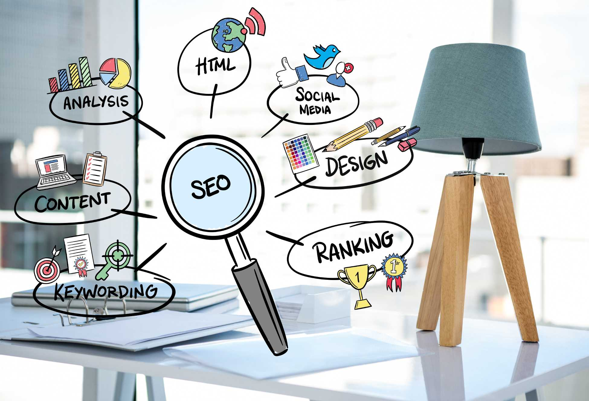 SEO CARTOON ON PICTURE